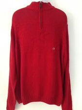 Mens Chaps Pullover Sweater Jumper Zip Mock Neck Red Holiday Print Cotton  XL