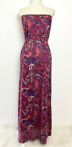 Lucky Brand Multi Color Maxi Strapless Dress