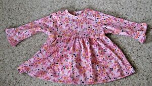 New No Tags Pink Floral Long Sleeve Baby Girls Dress Age 3-6 Months