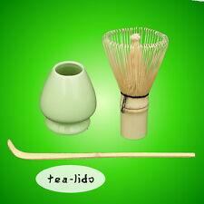 MATCHA GREEN TEA UTENSIL SET, Bamboo Whisk, Holder + Scoop: Stand, Ceremonial