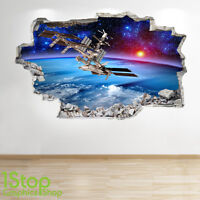 SPACE WALL STICKER 3D LOOK - MOON PLANET GALAXY STARS BOYS BEDROOM  Z310