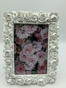 """White Silver Rose Flowers Picture Frame 4"""" X 6"""" Picture 10.16x15.24cm"""
