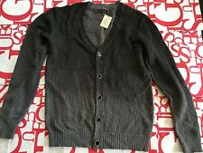 Guess V Neck Two Tones Button Plaited Sweater Size L