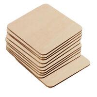 10 Stücke Holzscheiben Quadratische Holzplättchen Holz-Scheiben