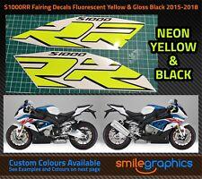 BMW S1000RR Fairing Decals. 2015-18 - Fluorescent Yellow & Gloss Black Stickers