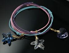 Heart Starfish Crystal 18k gold plated Silver Charm Bracelet Swarovski Elements