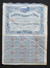 Action 1929 COMPAGNIE GENERALE DE TABACS PARIS  titre bond share 5