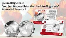 Belgie -Belgique 5 euro coincard 2018 **100 jaar wapenstilstand**