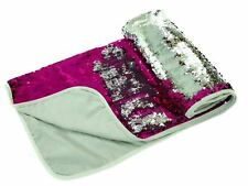 PINK SILVER SEQUIN FLIP COLOUR CHANGE MERMAID BED RUNNER THROW 65CM X 200CM