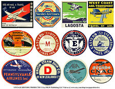 Cabin Pass Decals, STEAMSHIP LUGGAGE STICKERS, 1 Sheet, 12 Travel REPRODUCTIONS