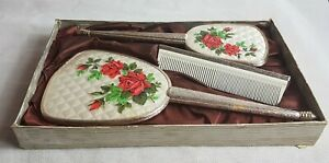 Beautiful Vintage 3 Piece Hand Mirror and Brush Set (Boxed)