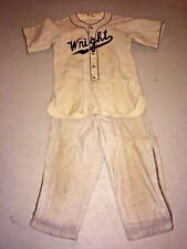 Vintage WRIGHT Flannel Baseball Uniform #19 Rawlings Jersey Lowe Campbell Pants