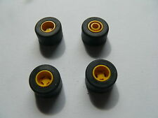 Lego 4 roues jaunes set 2554 1251 6400 6467 / 4 yellow slick wheels