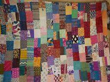 Indian patchwork quilt cotton kantha queen size bedspread handmade blanket throw