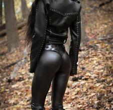 2019 Gothic Punk Women Black Faux Leather Leggings Fashion PU Elastic Long Pants