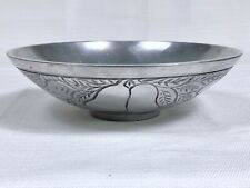 Aluminum Fruit Salad Serving Bowl Silver Pewter Grapes Pears Cherries 7-1/2""
