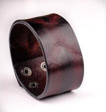 BL24 Dark Brown Cool Vintage Mens Surfer Leather Bracelet Wristband Wide Cuff