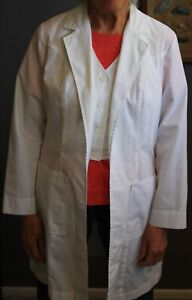 Women's Lab Coat White - Long Style Size 10 by Meta - with sewn in vest
