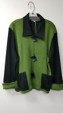 7c78d221e45 Caroline Rose~BLACK GREEN~Art To Wear~Button CARDIGAN SWEATER ~JACKET
