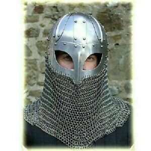 Historical Medieval Viking Helmet Battle Armor+18G Steel with Chain mail For Him