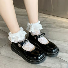 Women Girl Patent Leather Lolita Mary Jane Shoes Round Toe Cosplay Buckle Strap