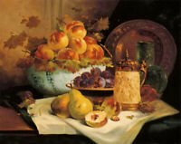 Oil painting eugene henri cauchois - still life with fruit pear peach on canvas