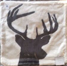 Pottery Barn Stag Reindeer Deer Printed Faux Fur Pillow Cover NWT Christmas