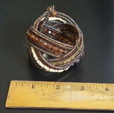 Multi Color Brown Bangle Bracelet Women's African Mini Beads Beaded