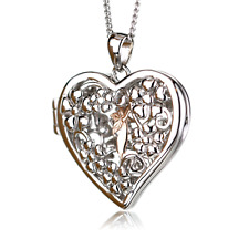 Clogau Silver Pendant Welsh Rose 9ct Gold Sterling Large Fairy Locket  18'' cha