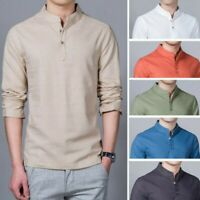 Men's Cotton Linen Stand Collar Shirts Slim Pullover Long Sleeve Casual Tops