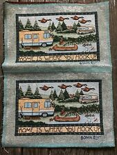 Home is Where You Hook Up Motor-home Rv lake Camper Tapestry Pillow top 2 Panels