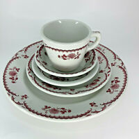 5 Piece Setting Shenango China Chardon Rose Red Restaurant Ware Dinner Plate Cup