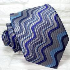 Onde blu Cravatta design grigio Nuova 100% seta Made in Italy handmade Morgana