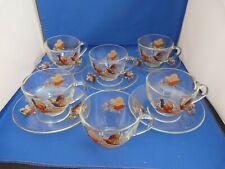 Vintage Arcoroc France Clear Glass 6 Cups 5 Saucers Pheasant Design