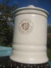 ceramic lidded jar, tub, pot, cream glaze, 'British Cheeses', storage, tableware