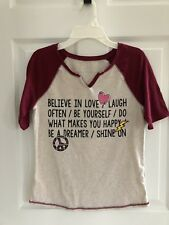 Justice Heather Beige Maroon Baseball Tee Short-Sleeved Knit Top Shirt Size 16