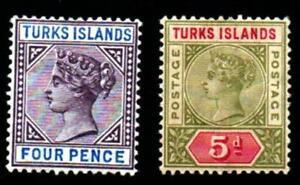 TURKS ISLAND 1894.5.2 VALUES.  MOUNTED MINT SG#71-72