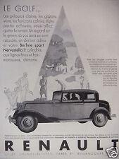 PUBLICITÉ 1930 RENAULT VOITURE BERLINE SPORT NERVASTELLA 8 CYLINDRES