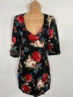 WOMENS DOLLY & DOTTY BLACK FLORAL 5O'S PIN UP VINTAGE ROCKABILLY WRAP DRESS UK10