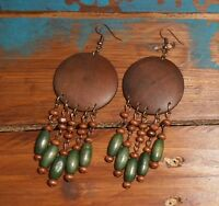 Handmade Boho Ethnic Hippie Brown Green Beads Wooden Chandelier Hook Earrings