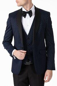 Jack Martin - Midnight Blue Diamond Printed Velvet Dinner Jacket / Tuxedo