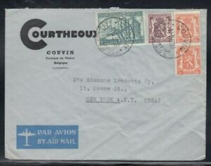 BELGIUM Commercial Cover Couvin to New York City 14-9-1950 Cancel