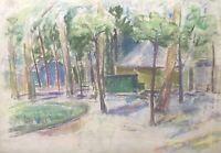 Ulla Haakø Weinert 1897-1967 Pastell Häuser im Wald Expressiv Rummel? Park