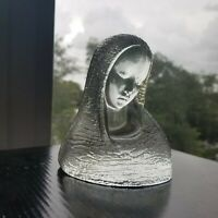 """VIKING Art Glass Mother Mary Crystal Satin 5"""" PAPERWEIGHT Frosted"""