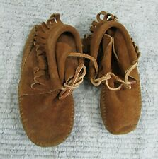 "Pair Vintage Suede Leather Lace Children's Moccasins Slippers 7"" Shoes FREE S/H"