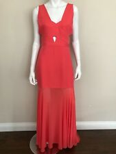 BCBGMAXAZRIA NWT Coral V-Neck Cutout Mermaid Evening Gown Long Dress Size 10 NEW