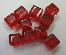 10 Pieces New 10mm Disco Square Red Glass Beads Beading Bead & Jewellery GB1059