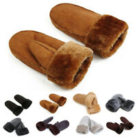 Real Sheepskin Mittens Glove Fur Trim Leather Winter Warm Gloves For Women Girl