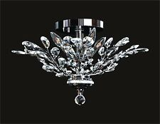 """Decorative 4-Light CHROME FLUSH MOUNT (D21"""" x H15"""") Crystals with Floral Effects"""