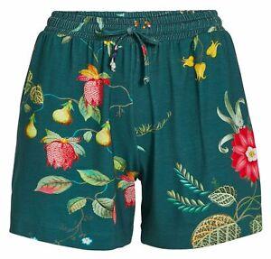 PiP Studio Damen Short Shorty Pyjamahose Sleepwear Loungewear dunkelgrün floral